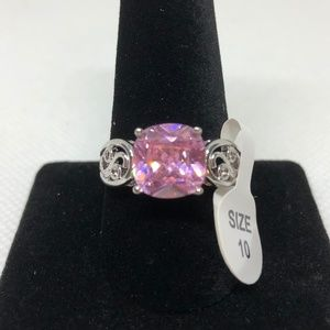 Pink Topaz 925 Stamped SS Ring Size 10